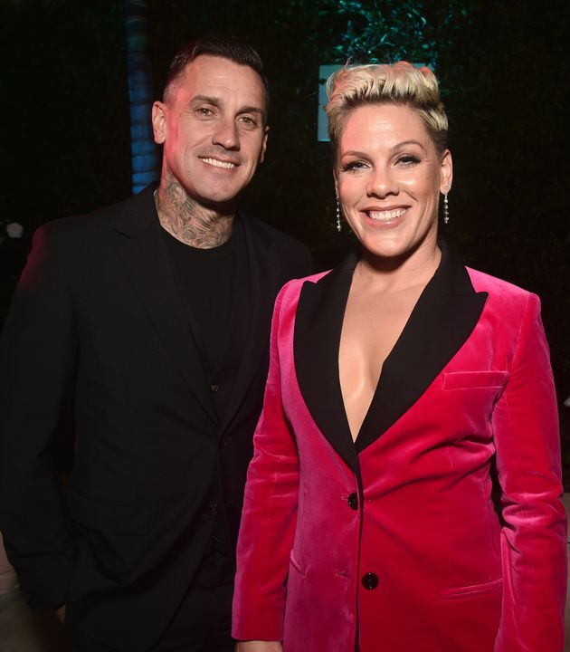 Carey Hart and Pink attend Billboard's 2019 Live Music Summit and Awards Ceremony on Nov. 5, 2019, in...