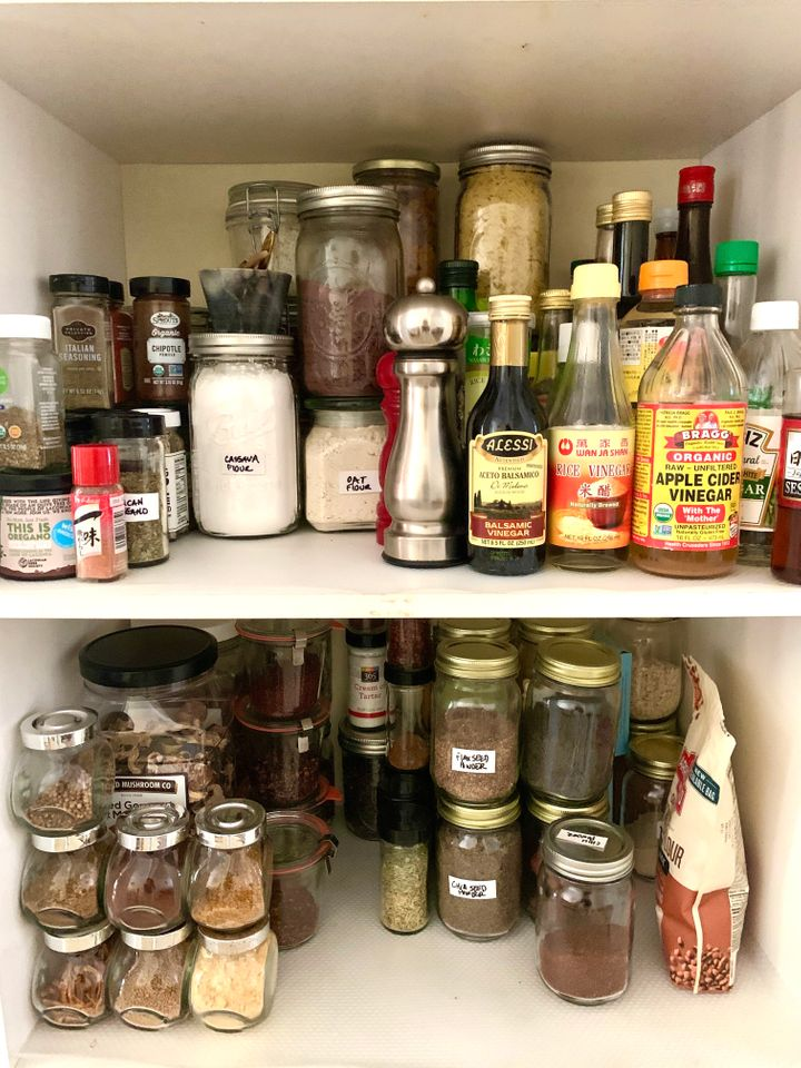 Labeling stackable jars can save you a ton of space in your pantry.