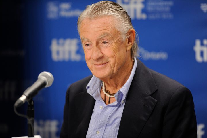 "Director Joel Schumacher, who died Monday, speaking at a press conference for his final film ""Trespass,"" in 2011 at the Toron"