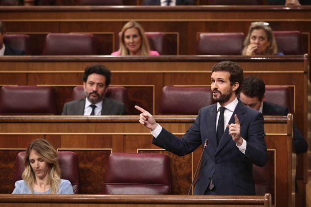 Bancada del PP en el Congreso durante una intervención de su líder, Pablo
