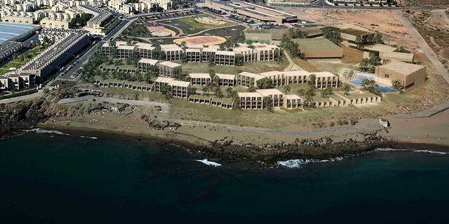 Vista aérea del proyecto de Hotel de La Tejita, en Tenerife (cedida por Planeta