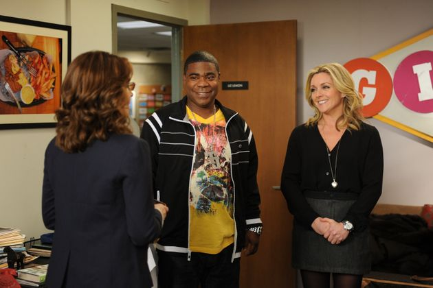 Tina on the set of 30 Rock with co-stars Tracy Morgan and Jane