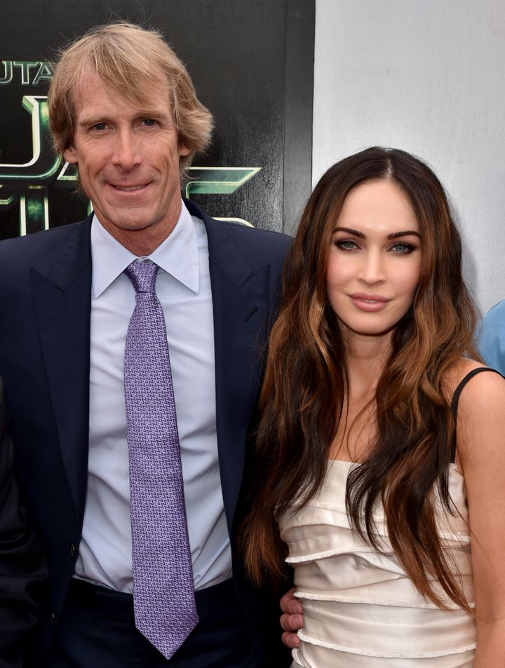 "Michael Bay and Megan Fox attend the premiere of ""Teenage Mutant Ninja Turtles"" in 2014."