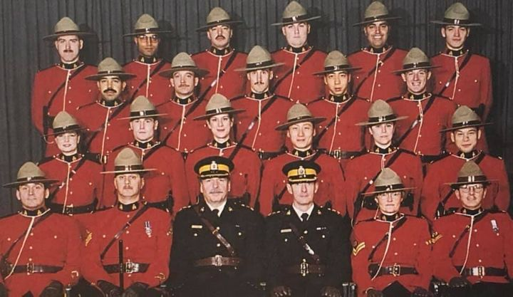 A group photo of the writer's troop in training at RCMP Depot Division in Regina.