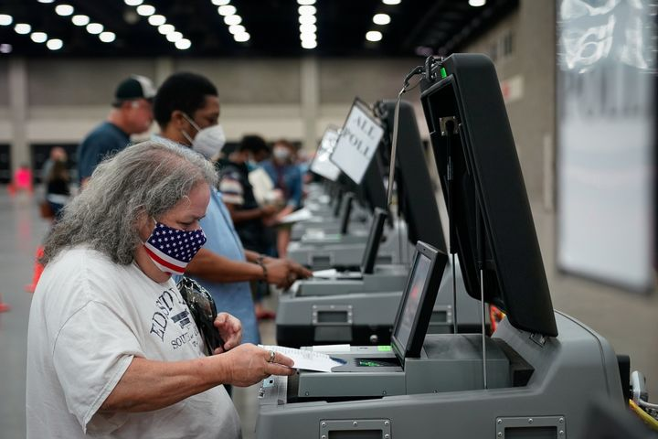 A voter casts her ballot in Louisville, Kentucky, on Tuesday.