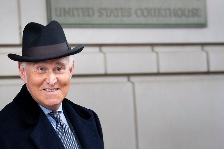 Roger Stone leaves federal court after a sentencing hearing on Feb. 20 in Washington, D.C.