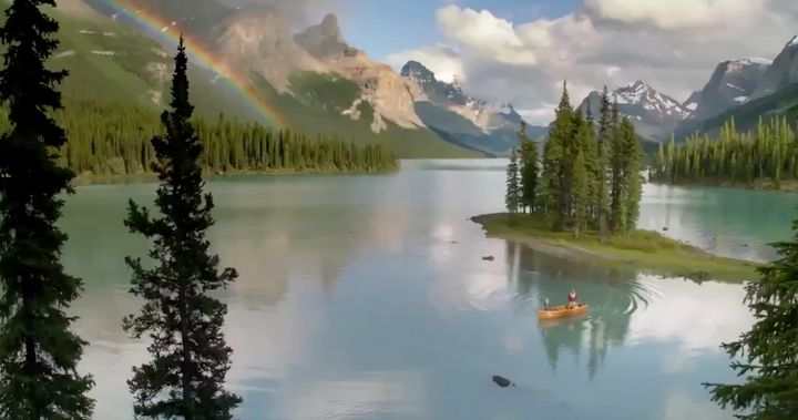 A screencap from a video promoting Edmonton as an NHL hub city showing a stunning image of the Rocky Mountains, which are definitely not where Edmonton is.