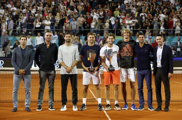 FILE PHOTO: Tennis - Adria Tour - Belgrade, Serbia - June 14, 2020 Austria's Dominic Thiem and runner-up...