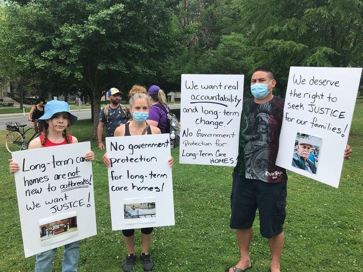 Marilyn Xuereb and her family rally at Queen's Park in Toronto on June 23, 2020 after losing a family member to COVID-19 at Downsview Long Term Care.