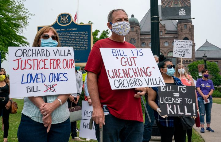 Demonstrators protest against Bill 175, the province's new home care legislation, outside Queen's Park in Toronto on June 23, 2020.