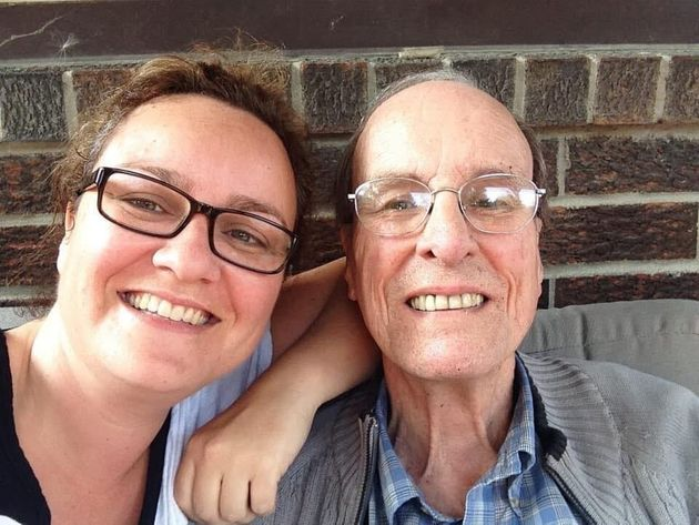 Cathy Parkes poses with her father Paul Parkes, who died with COVID-19 at Orchard Villa long-term care...