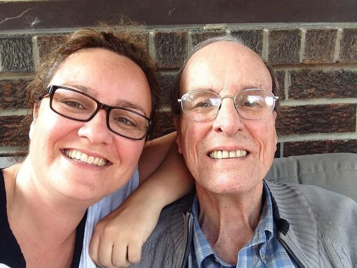 Cathy Parkes poses with her father Paul Parkes, who died with COVID-19 at Orchard Villa long-term care on April 15, in an undated photo.