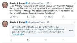 Twitter masque un nouveau message de Trump qui menace d'employer