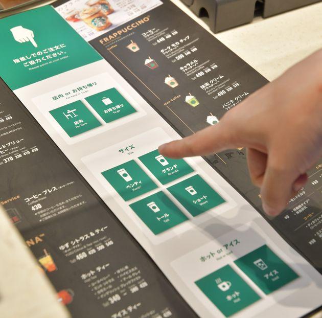「指差し」メニュー。手話を使わなくても、頼みたい商品を指さすことで注文ができます。