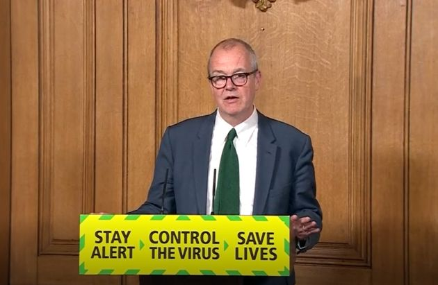 Screen grab of (left to right) Chief Scientific Adviser Sir Patrick Vallance during a media briefing...