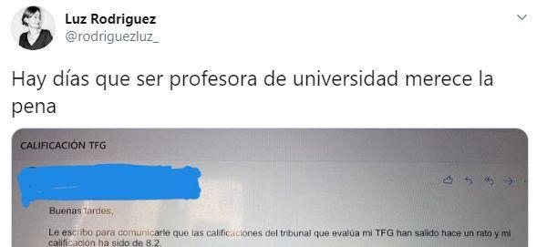 El correo que envió un alumno a la profesora Luz