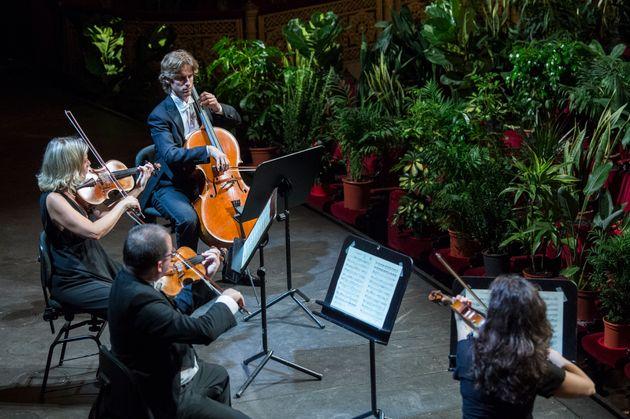 '유클리드 콰르텟(Euclid Quartet)'의 연주자들이 자코모 푸치니의 현악 4중주곡 '국화(1890)'을 연주하고 있다. 바르셀로나, 스페인. 2020년