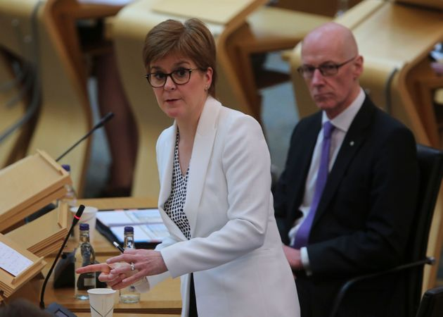 First Minister Nicola Sturgeon delivering a statement on Covid-19 at the Scottish Parliament,