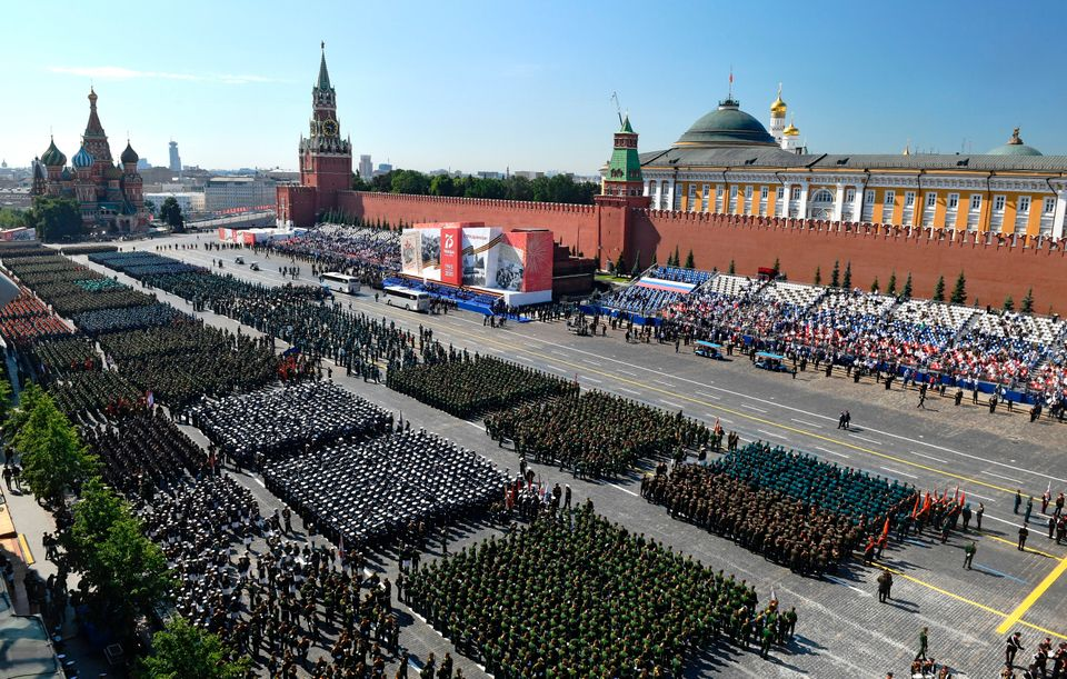 Parade formations are seen ahead of the military parade marking the 75th anniversary of the Nazi defeat...