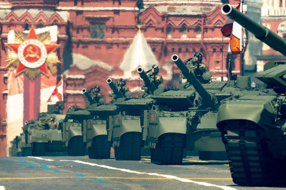 Russian tanks roll in Red Square during the Victory Day military parade marking the 75th anniversary...
