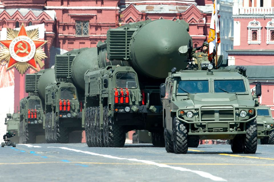 Russian RS-24 Yars ballistic missiles roll in Red Square during the Victory Day military parade marking...