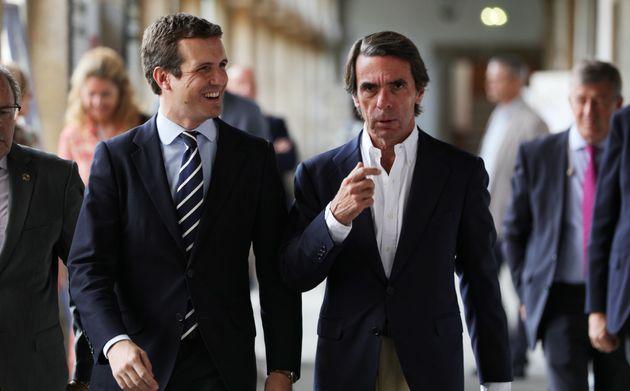 Imagen de archivo de Pablo Casado y José María Aznar, en un acto de la