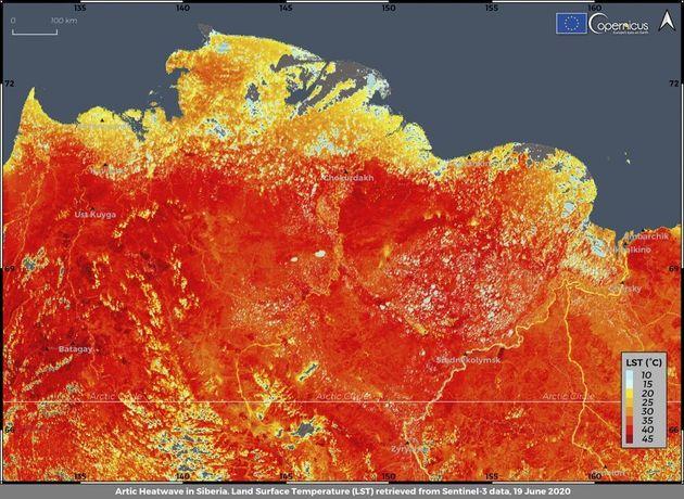 Αυτή η φωτογραφία που τραβήχτηκε την Παρασκευή 19 Ιουνίου 2020 από την Υπηρεσία Κλιματικής Αλλαγής ECMWF Copernicus δείχνει τη θερμοκρασία της επιφάνειας της γης στην περιοχή της Σιβηρίας. Μια θερμοκρασία-ρεκόρ 38 βαθμών Κελσίου καταγράφηκε στην πόλη της Αρκτικής, Βερκχογιάνσκ, το Σάββατο 20 Ιουνίου, σε ένα παρατεταμένο κύμα θερμότητας που έχει προκαλέσει ανησυχία στους επιστήμονες σε όλο τον κόσμο.