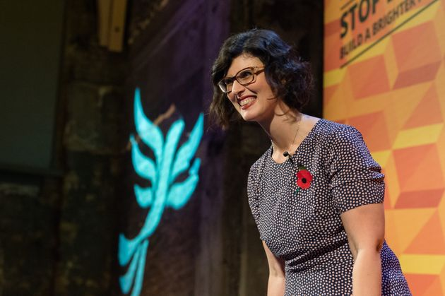 Liberal Democrats Shadow Education Secretary Layla Moran addresses supporters during Rally for the Future...
