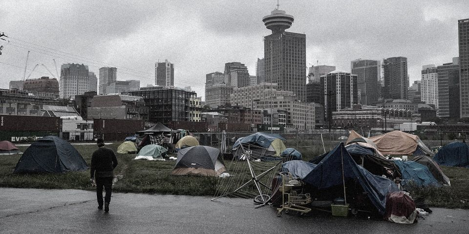A homeless encampment near Vancouver's CRAB Park.