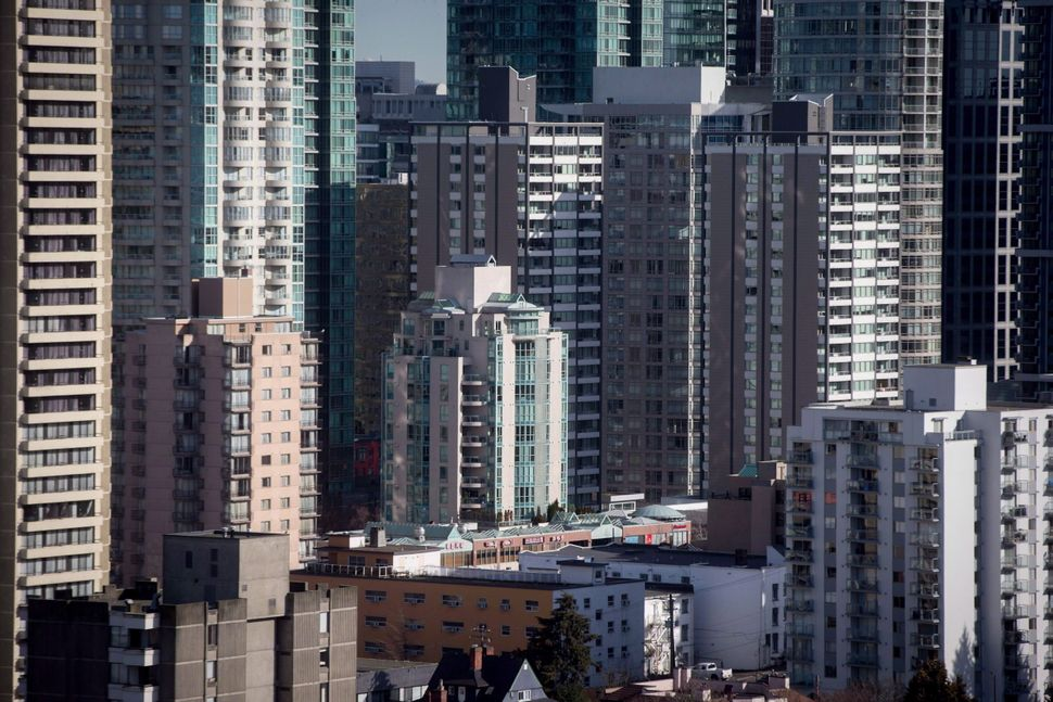 Condos and apartment buildings are seen in downtown Vancouver, B.C. on February 2,