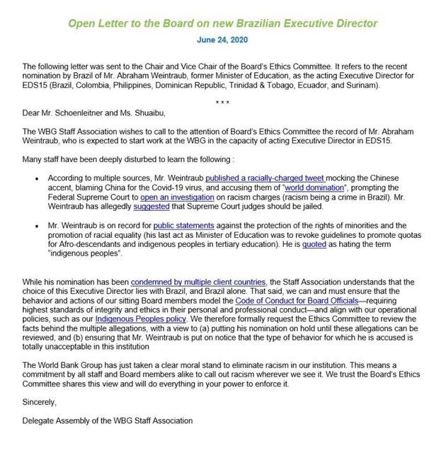 Funcionários do Banco Mundial pedem suspensão da nomeação de