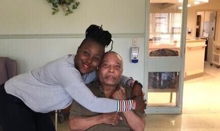 Raquel John-Matuzewiski poses with her father, Chester John, who caught COVID-19 at Orchard Villa long-term care home in Pickering, Ont.