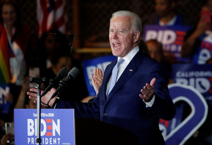 Democratic U.S. presidential candidate and former Vice President Joe Biden speaks at his Super Tuesday night rally in Los Ang