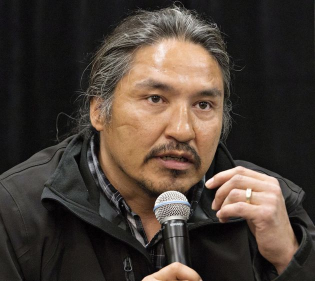 Chief Allan Adam of the Athabasca Chipewyan First Nation speaks during a press conference in Fort McMurray,...
