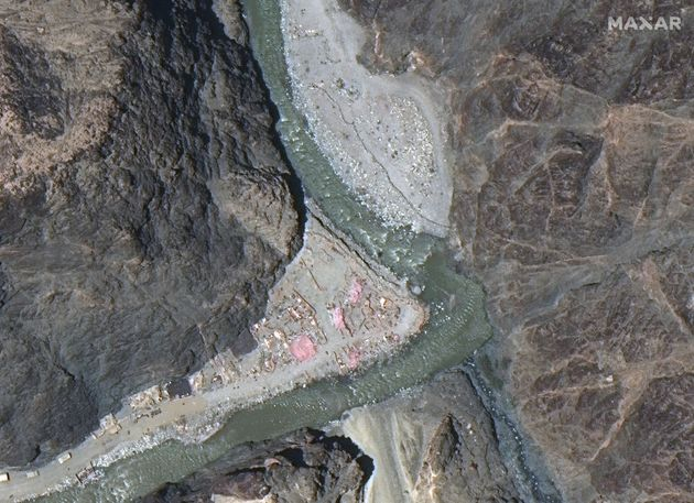 Maxar WorldView-3 satellite image shows close up view of the Line of Actual Control (LAC) border and...