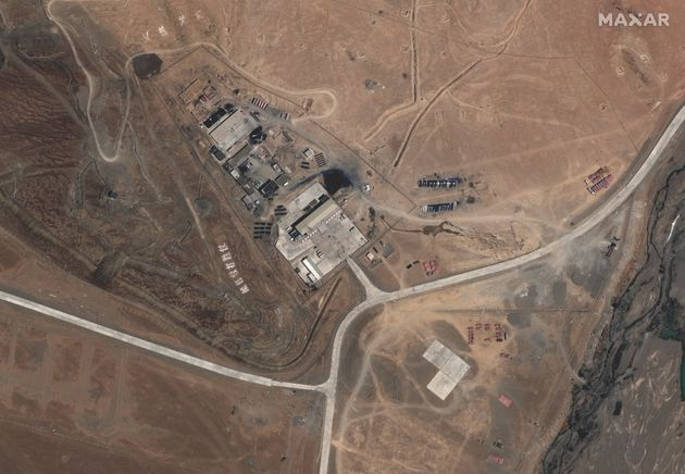 Maxar WorldView-3 satellite image shows the PLA (China's People's Liberation Army) Base in Kongka Pass...