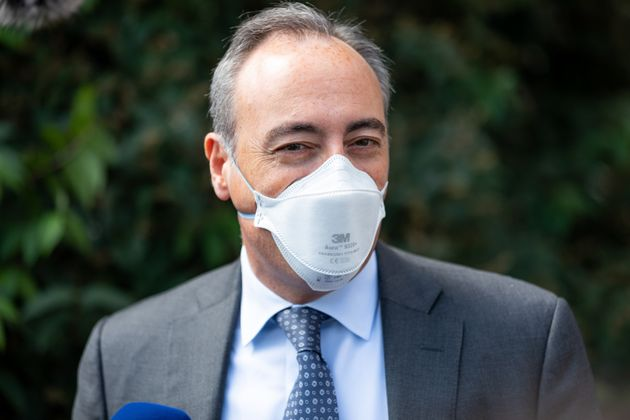 Giulio Gallera with protective mask at the opening of the new Intensive Care Unit for patients with Coronavirus...