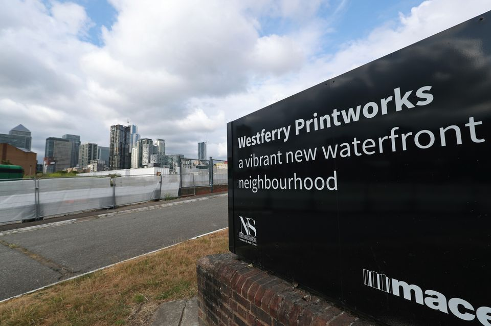 A view of the Westferry Printworks site on the Isle of Dogs, east