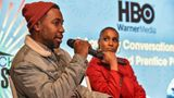 "PARK CITY, UTAH - JANUARY 25: Writer/producer Prentice Penny (L) and Actress/producer Issa Rae (R) speak on a panel at The Blackhouse Foundation's ""A Lowkey Conversation With Issa Rae and Prentice Penny"" event during the Sundance Film Festival on January 25, 2020 at The Blackhouse in Park City, Utah. (Photo by Aaron J. Thornton/Getty Images for The Blackhouse Foundation)"