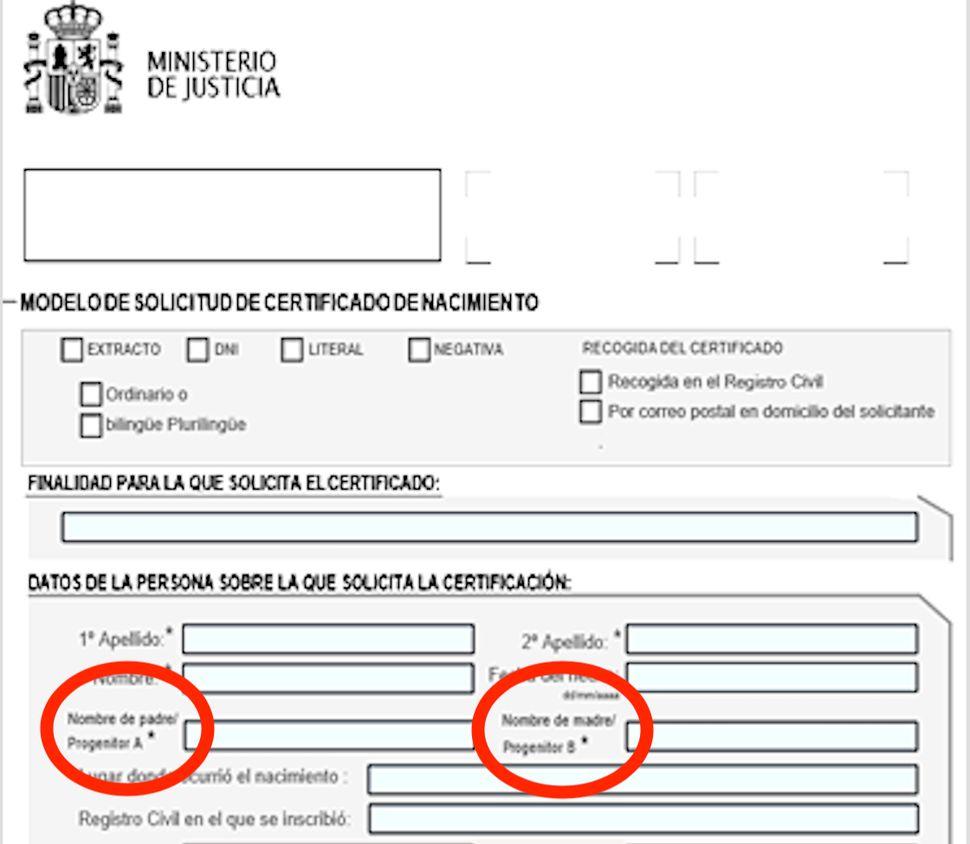 Certificado de nacimiento en España 2019.