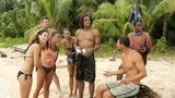 "AITUTAKI ATOLL, COOK ISLANDS - JULY 2:  (left to right) Members of the Rarotonga Tribe Parvati Shallow, Adam Gentry, Jenny Guzon-Bae, Cristina Coria, Nate Gonzalez, John ""J.P."" Calderon and Stephannie Favor during the third episode of SURVIVOR: COOK ISLANDS, Thursdays, on the CBS Television Network.  (Photo by Monty Brinton/CBS Photo Archive via Getty Images)"