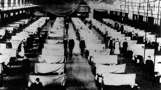 Imagen de 1918 de enfermos estadounidenses afectados por la 'gripe española' en