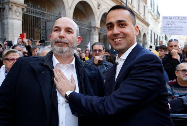 Italy's Foreign Minister Luigi di Maio and Italy's 5-Star Movement's new caretaker leader Vito Crimi...
