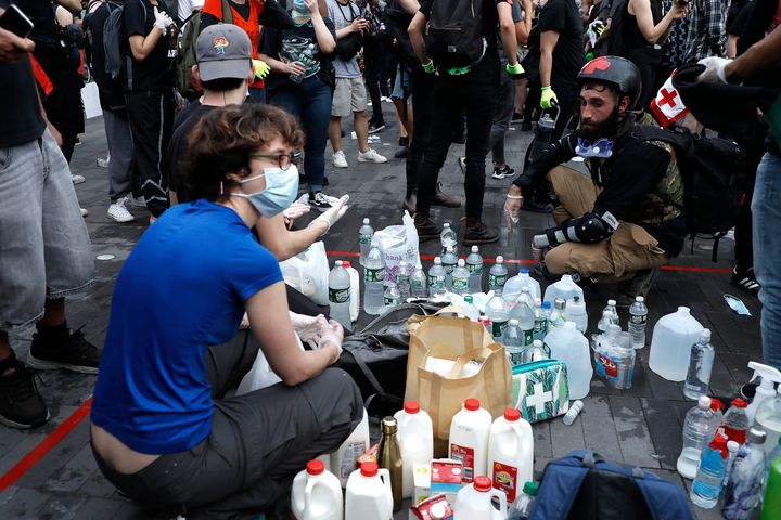 A makeshift aid station is stocked with agents to counter gas and pepper spray at the Barclays Center in Brooklyn, New York,