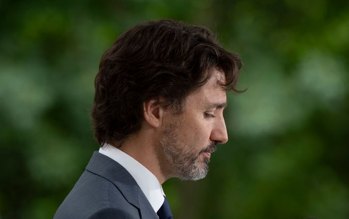 Prime Minister Justin Trudeau during a news conference outside Rideau Cottage in Ottawa, on June 25, 2020.