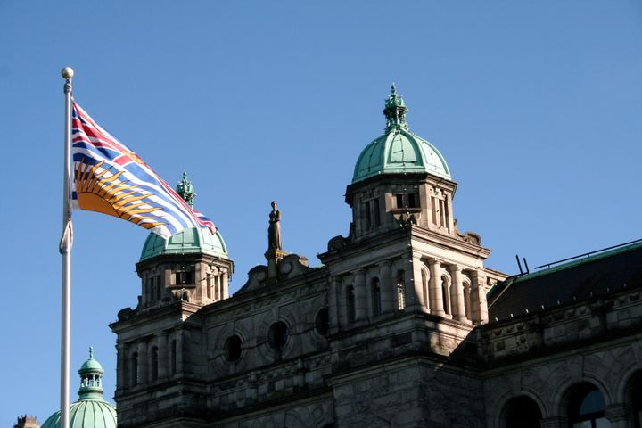 Close-up of British Columbia provincial parliament building in Victoria, BC, Canada during summertime
