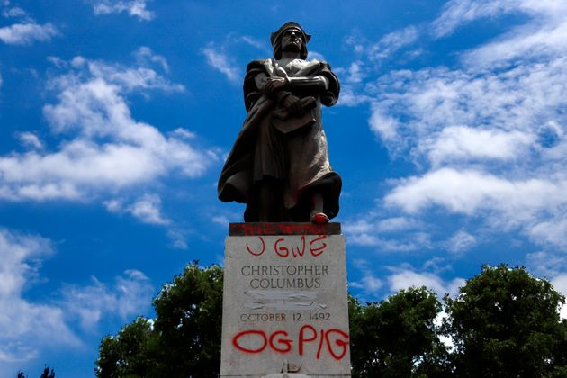 A vandalized statue Christopher Columbus in Schenley Park in the Oakland neighbourhood of Pittsburgh...