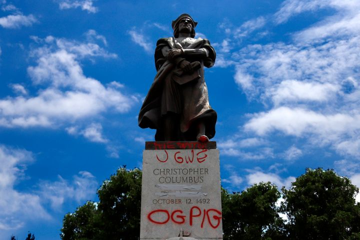 A vandalized statue Christopher Columbus in Schenley Park in the Oakland neighbourhood of Pittsburgh on June 23, 2020.