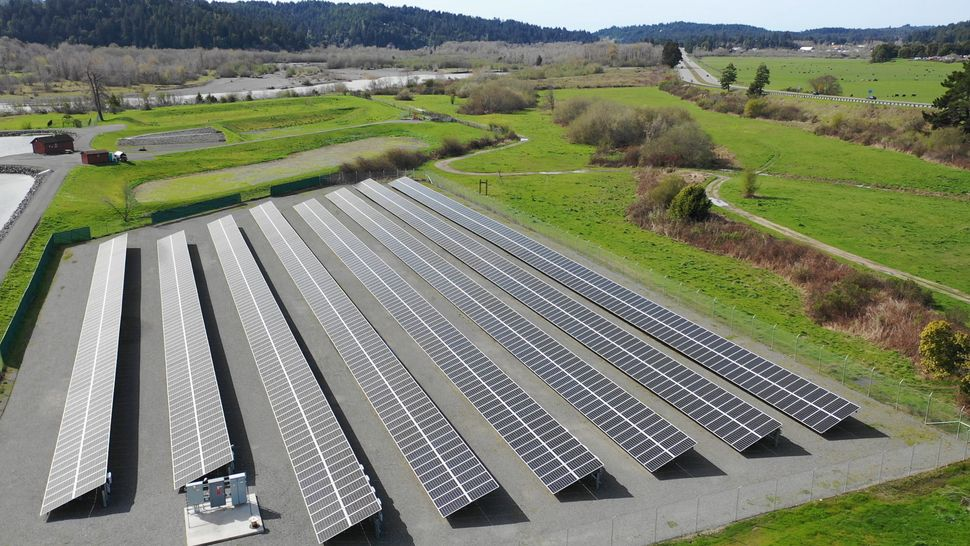 Solar panels constructed by the Blue Lake Rancheria, a Native American tribe in northern California.