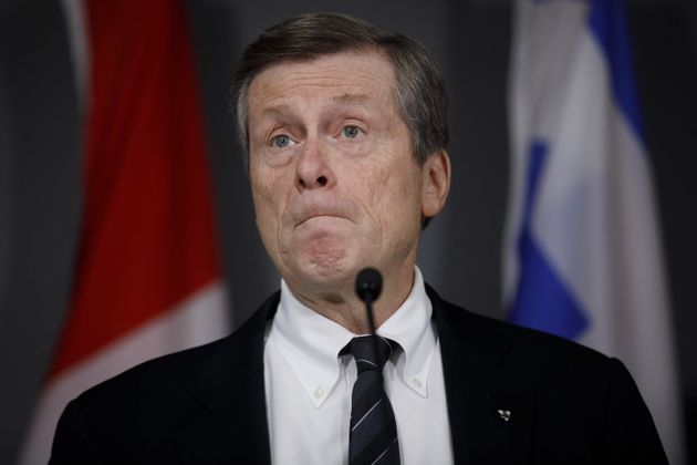 Toronto Mayor John Tory speaks during a press conference on Feb 29,